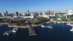 Aerial of Downtown Long Beach California Stock Footage