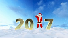 Santa Claus Dancing 2017 text, Dance 8, beautiful winter landscape Stock Footage