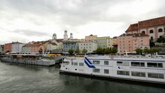 Shot from cruise ship leaving Passau, Germany on the Danube River Stock Footage