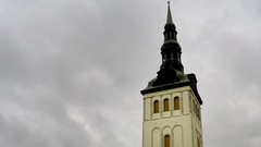 View of Tallinn, roofs of houses, St. Nicholas' Church Stock Footage