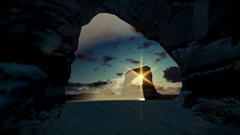 Tropical island with rocks in ocean and aircraft landing, beautiful sunrise Stock Footage