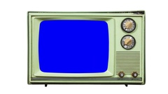 Vintage Isolated Green Television with Zoom into Chroma Blue Screen Stock Footage