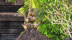 People visiting Gunung Kawi Temple Complex, Bali. Camera zooms out. Stock Footage