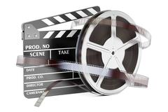 Cinema and cinematography concept. Clapperboard with film reels, 3D rendering Stock Illustration
