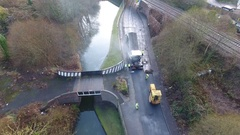 Aerial view of roadworks. Stock Footage