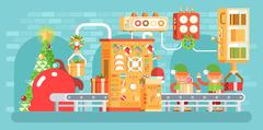 Illustration of isolated Christmas conveyor with elves pack gifts near the Stock Illustration