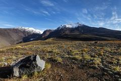 Autumn panoramic volcanic landscape of Kamchatka Peninsula Stock Photos