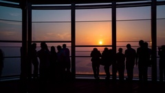 People walking and make photo on roof top observation desk , time-lapse Stock Footage