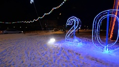 Russia: Zhukovsky, 11 Dec 2016 : new year's decoration of the city. The plane Stock Footage