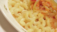 Pasta with Sauce vegetables, Cheese and egg. Stock Footage