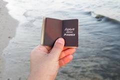 Travel agency idea. Explore Dream Discover text Stock Photos