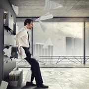 Overworked and stressed  businessman Stock Photos