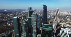 Moscow City aerial shooting cityscapes buildings Stock Footage