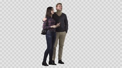 Handsome male and beautiful girl in plaid shirt are standing and looking at smth Stock Footage
