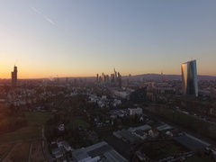 FRANKFURT, Sunset Skyline - Wolkenkratzer, Aerial Footage - Luftaufnahmen, 4K Stock Footage