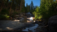 MoCo Timelapse of Sunlight Illuminating Waterfalls in the Morning -Zoom In- Stock Footage