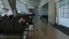 Travelers People Tourists Waiting In Passenger Terminal Incheon Airport Seoul Stock Footage