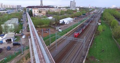 Aerial Moscow Trains Monorail In Motion Stock Footage