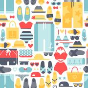 Summertime accessories seamless pattern vector Stock Illustration