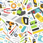 Construction tools vector icons seamless pattern. Hand equipment background in Stock Illustration
