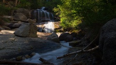 MoCo Timelapse of Sunlight Illuminating Waterfalls in the Morning -Long Crop- Stock Footage