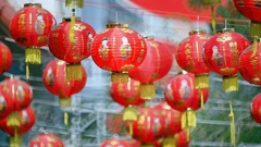 Chinese new year lanterns in china town Stock Footage