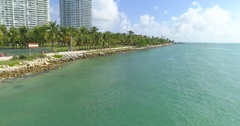 Aerial video Miami Beach South Point Park Stock Footage