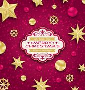Pink Cute Congratulation Card with Golden Decoration for Merry Christmas Stock Illustration