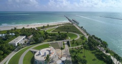 Aerial tour Miami Beach South Pointe Park Stock Footage