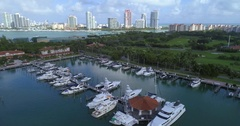 Aerial drone video Fisher Island Marina 4k 60p Stock Footage