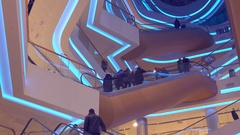 Shopping mall modern futuristic interior with lots of escalators Stock Footage