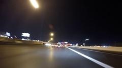 Las Vegas Spring Mountain Road Night Driving Time Lapse Stock Footage