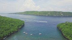 Beautiful Snorkeling Bay Nusa Penida Bali Aerial 4k Stock Footage