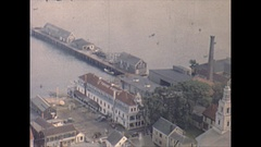 Vintage 16mm film, 1947 Mass Provincetown birds eye view, Pilgrim Monument #2 Stock Footage