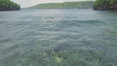 Snorkeling Nusa Penida Island Bali Aerial 4k Stock Footage
