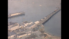 Vintage 16mm film, 1947 Mass Provincetown birds eye view, Pilgrim Monument #1 Stock Footage