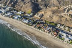 Malibu Beach Houses along Pacific Coast Highway Stock Photos