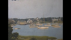 Vintage 16mm film, 1947 Massachusetts boats harbour b-roll, nice pan Stock Footage