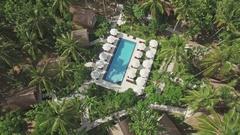Pool In Jungle Lost Island Tropics Aerial 4k Stock Footage