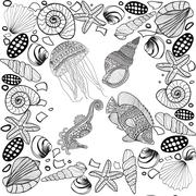 Composition of tropical fish, seahorse, jellyfish, shell, underwater corals. Stock Illustration