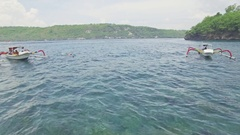 Tourist Snorkeling Boats Hidden Bay Nusa Penida Aerial 4k Stock Footage