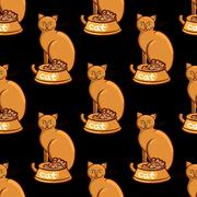Cat with bowl on black background vector illustration endless pattern Piirros