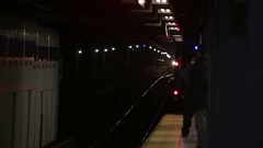 Subway Car Pulling Into Station in New York 4K Stock Video Stock Footage