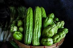 Momordica charantia often called bitter melon bitter gourd or bitter squash.. Stock Photos