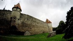 Medieval tower - part of the city wall. Tallinn, Estonia Stock Footage