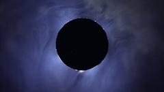 White smoke with black rotation core like abstract black sun Stock Footage