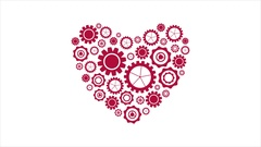 Red heart from tech gears video animation Stock Footage
