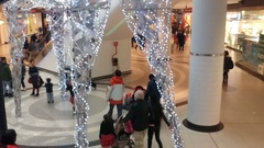 Christmas decoration giant reindeer at Eaton's Centre, Toronto 2016 Stock Footage