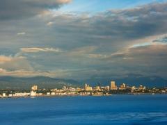 Anchorage, Alaska skyline as seen from Point Mckenzie Stock Footage