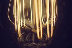 Electrical Filament lamps Edison close-up macro. soft focus. Stock Photos